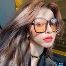復古茶色墨鏡女個性下半框眼鏡網紅街拍ins大框圓臉顯瘦太陽鏡潮 夢幻小鎮