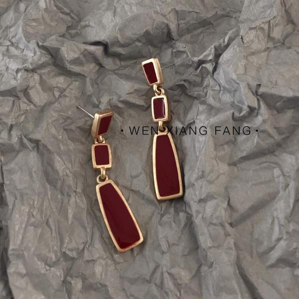 耳環耳環女氣質簡約復古酒紅色長款耳墜冷淡風個性百搭耳釘耳飾品新年禮物