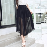 褲裙 雪紡闊腿褲女夏七分網紗寬鬆九分褲大碼薄款垂感沙灘褲裙 芊墨左岸