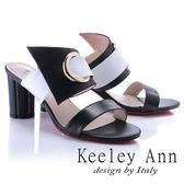 ★2018春夏★Keeley Ann時尚美學~亮眼撞色個性釦環真皮高跟拖鞋(白色) -Ann系列