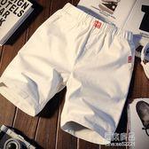 夏季休閒褲男士短褲修身中褲青年沙灘褲運動韓版五分褲子5分潮流  原本良品