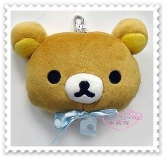 ♥小花花日本精品♥《Rilakkuma》拉拉熊 藍色 點點 緞帶 絨毛 票卡夾 58814109