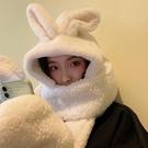 圍巾帽 白色兔子長耳朵帽子圍巾一體三件套手套女秋冬季百搭日系可愛連帽 三角衣櫥