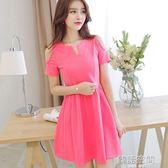 裝韓版大碼時尚氣質長裙子短袖洋裝女裝長裙 韓語空間