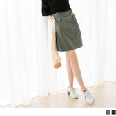 《CA1526》高含棉後腰鬆緊打褶短裙 OrangeBear