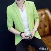 夏季薄款中袖西服男西裝韓版潮流純色休閒短袖外套 js3580『科炫3C』