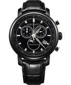 AEROWATCH Rhein 經典三眼計時腕錶-黑x黑框 A84936NO03
