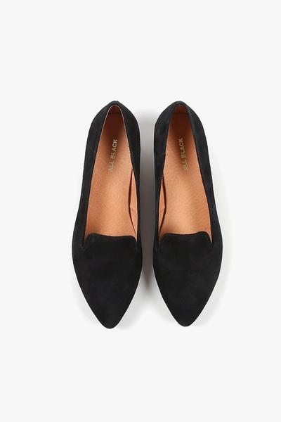 ALL BLACK 造型鞋跟平底鞋  (黑)