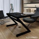 電腦桌家用臺式桌書桌鋼化玻璃簡易簡約現代辦公桌臥室組裝創意 igo  琉璃美衣