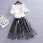 2019夏季新款韓版大碼短袖寬鬆雪紡衫女顯瘦網紗蓬蓬連身裙兩件套
