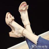 低跟涼鞋chic涼鞋女夏季新款韓版中跟百搭蝴蝶結粗跟一字扣羅馬高跟鞋 晴天時尚館
