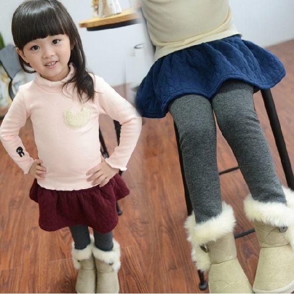 韓版《格紋空氣綿-1》甜美~加絨~百搭褲裙