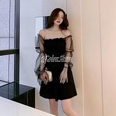 黑色洋裝2010新款女夏赫本風小黑裙露肩性感網紗泡泡袖仙女裙潮 SUPER SALE 快速出貨