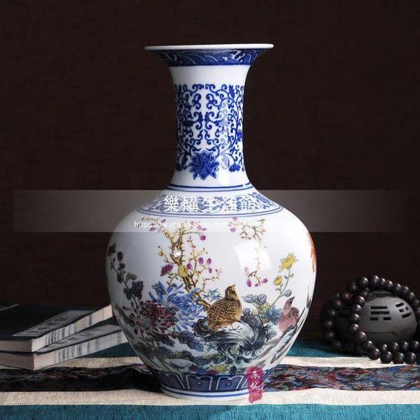 景德鎮花瓶/仿古青花瓷斗彩花瓶LG-4314