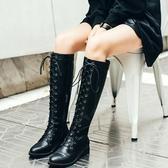 真皮長靴-交叉綁帶個性騎士風低跟女靴子73iv39[時尚巴黎]