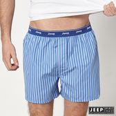 【JEEP】五片式剪裁 純棉平口褲 (淺藍條紋)