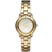DKNY 迷戀珍珠貝晶鑽時尚腕錶(金色)