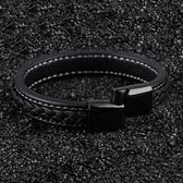 DADU男士手鏈歐美時尚黑色牛皮鈦鋼手環簡約潮男休閒飾品禮物刻字  巴黎街頭