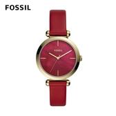 FOSSIL Tillie 靚亮女孩金框手錶 紅色皮革錶帶 36MM BQ3549