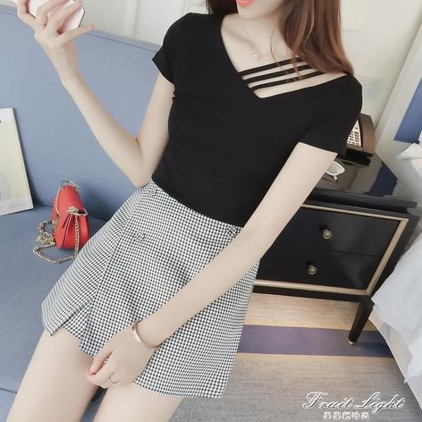 2021年春裝新款鎖骨一字肩黑色短袖t恤女露肩修身上衣夏ins潮網紅 果果輕時尚