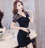 現貨黑M短袖蕾絲拼接洋裝包臀裙20149