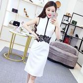 連衣裙女夏2018新款韓版氣質撞色立領無袖蕾絲拼接修身改良旗袍裙