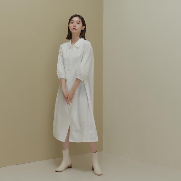 Queen Shop【01085745】簡約七分袖設計排釦襯衫洋裝 兩色售*現+預*