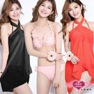 仲夏新品 三件式泳裝  素面花邊鋼圈三件式比基尼泳衣 M~XL 天使甜心Angel Honey