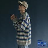 日系學院風撞色條紋長袖毛衣 寬松BF風針織衫【英賽德3C數碼館】