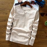 中國風男裝亞麻料春裝T恤中式盤扣復古上衣服棉麻布卡其長袖純色 優家小鋪