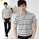 【大盤大】(P11503) 男 短袖POLO衫 橫條紋 有領休閒衫 抗皺 台灣製 MIT 口袋棉衫【剩M和L號】