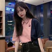 HXT短袖T恤女夏裝新款韓版學院風寬鬆Polo衫領學生超火上衣潮 聖誕節全館免運