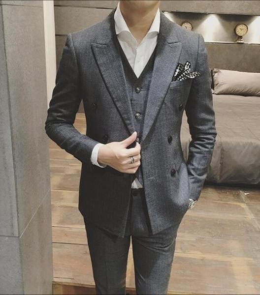 找到自己品牌 韓國男 修身版型細條紋 小西裝 西裝外套 單件外套