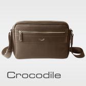 【Crocodile】WIND系列皮配布橫式斜背包 0104-6002