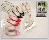 豆豆鞋女春秋季尖頭淺口鞋子女中跟社會平底鞋女夏淑女鞋坡跟單鞋禮物限時八九折