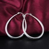 925純銀耳環 (耳針式)-大水滴有型生日情人節禮物女配件73au151[巴黎精品]