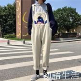 吊帶褲 吊帶褲女春季新款寬鬆韓版學院風刺繡牛仔褲百搭學生連體褲子 初語生活