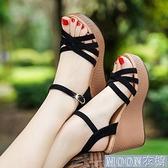 坡跟涼鞋【高質輕便】坡跟涼鞋女新款夏季韓版高跟厚底一字扣性感女鞋 快速出貨