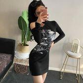 酒吧女裝2018秋新款主播性感露肩長袖旗袍禮服打底修身包臀連衣裙