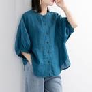 棉麻上衣 2020夏季新款棉麻襯衫女裝燈籠袖復古文藝上衣寬鬆中袖大碼襯衣女 源治良品