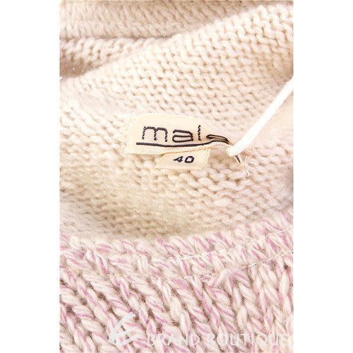 MALO 米/紫色拼接針織高領背心 0510938-05
