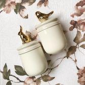 簡約陶瓷電鍍金色動物小鳥兔子密封罐陶瓷棉球儲物罐北歐風萬聖節,7折起
