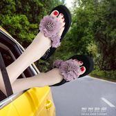 人字拖女夏民族風時尚花朵夾腳涼拖鞋外穿海邊厚底沙灘鞋 可可鞋櫃