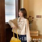 棒球外套 秋季韓版2020新款POLO領抽繩寬鬆短款工裝風薄款長袖夾克外套女裝 俏girl