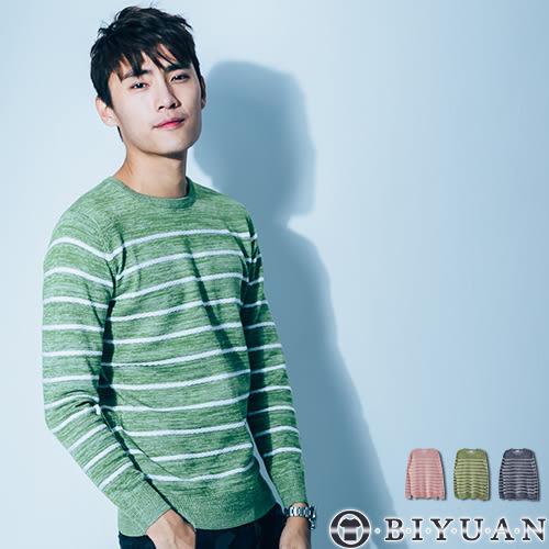 韓國製高規針織毛衣【BRT003】OBI YUAN麻花混織條紋圓領針織衫 共3色
