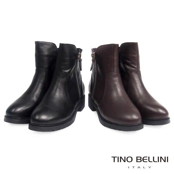 Tino Bellini中性雙拉鍊低跟短靴(咖)_CL2220 2015AW
