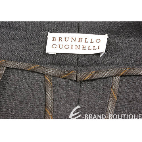BRUNELLO CUCINELLI 深灰色反褶寬管西裝褲 1140349-11