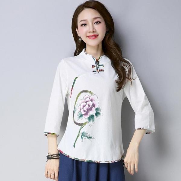 棉麻上衣 春季新款民族風女裝唐裝改良中國風盤扣旗袍上衣棉麻顯瘦茶人服女