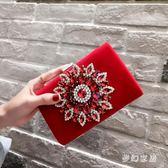 宴會包女包鑲鉆手包單肩斜跨鏈條包太陽鉆扣手包 zq2907『夢幻家居』
