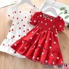 熱賣兒童洋裝 兒童裙新款寶寶夏季裙子女童甜美花邊圓點連身裙小女孩雪紡短袖裙 coco